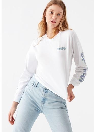 Mavi Kadın  Breakout Baskılı  Sweatshirt 1600826-620 Beyaz
